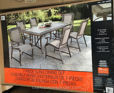 Agio International 7 piece Sling Dining Set - great for bbqs and outdoor gatherings