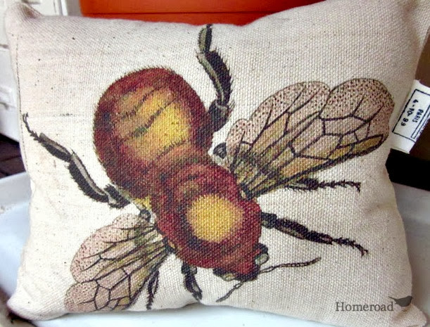 Bee transfer on a pillow