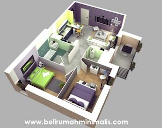Denah Rumah Minimalis 2 Kamar 3D