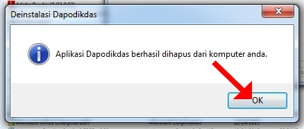 Aplikasi dapodik berhasil dihapus dari komputer Anda