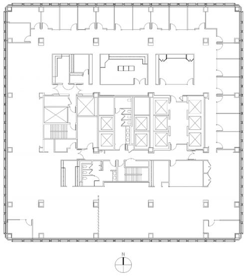Plano de planta en el nivel número 15 correspondiente a la Pirámide de Transamerica de San Francisco donde se aprecia la forma cuadrada
