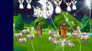 Anjos no campo comunicando a pastores o nascimento de jesus