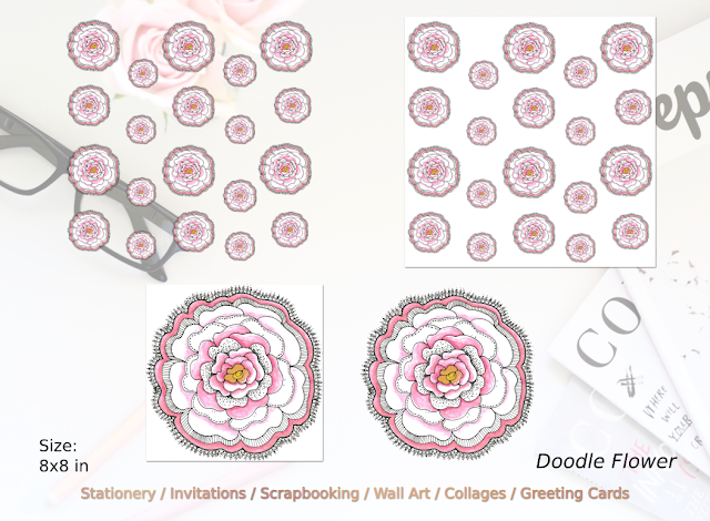 Doodle Flower Clipart and Pattern