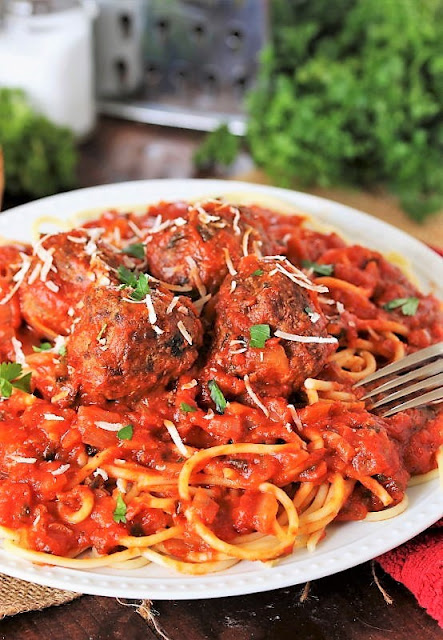 Plate of Classic Spaghetti and Meatballs Image