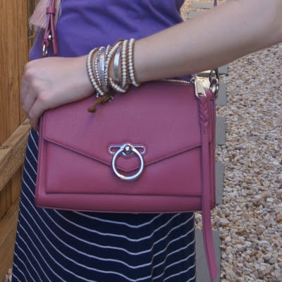 Rebecca Minkoff Jean MAC bag in fig with purple tee and navy stripe skirt   awayfromtheblue