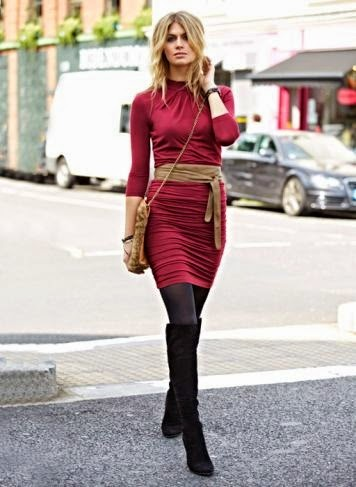 Wearing a Red Dress with Obi Belt and Black Boots