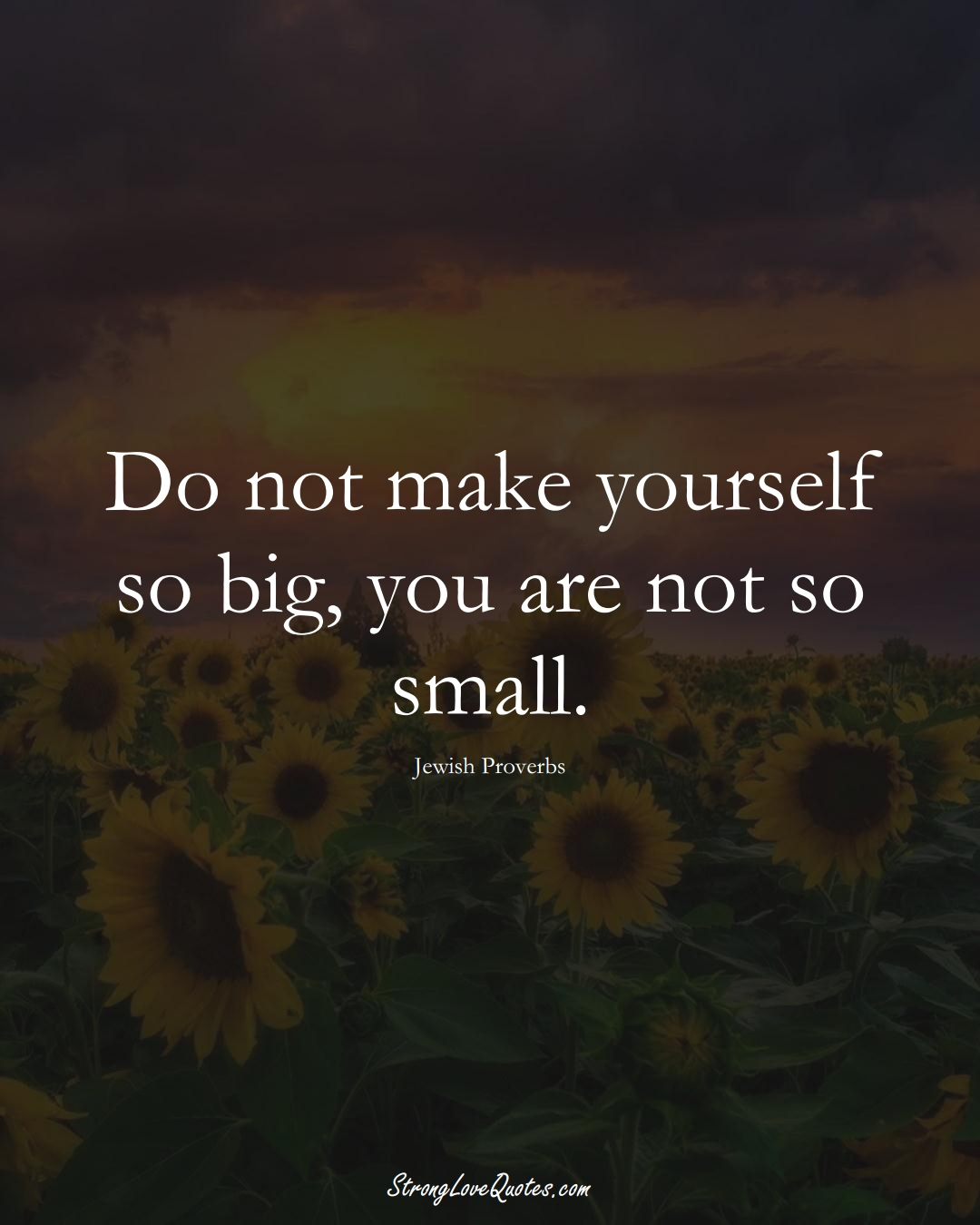 Do not make yourself so big, you are not so small. (Jewish Sayings);  #aVarietyofCulturesSayings