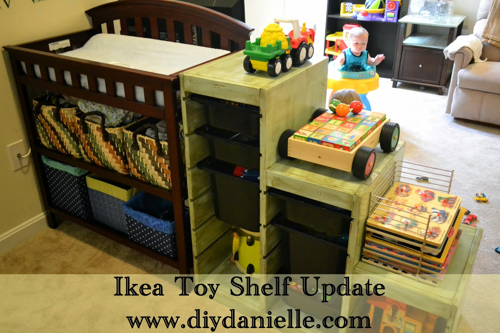 How to update an old Ikea toy shelf by distressing it.