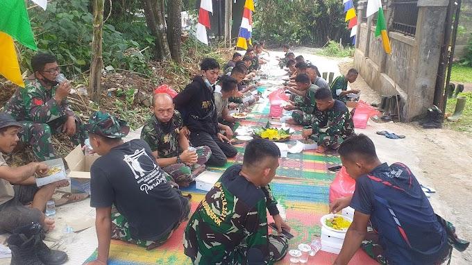 Satgas TMMD Bersama Warga Gelar Syukuran HUT TNI Ke-76. Warga Siapkan Organ Tunggal