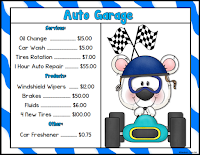 Auto Garage Menus for Math