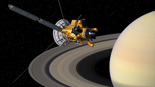 The Cassini space probe orbiting Saturn