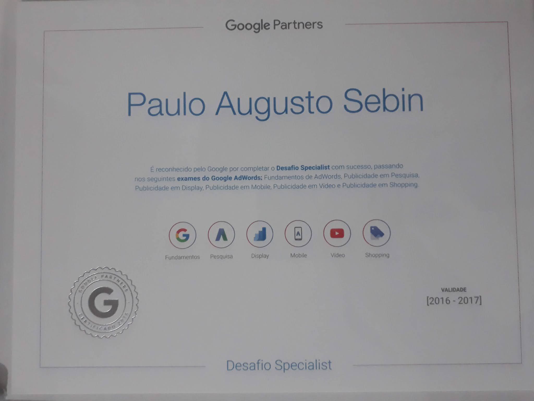 Certificado de especialista Google campanhas