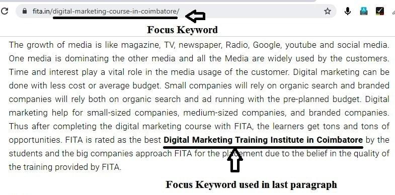 Focus Keyword used in last paragraph