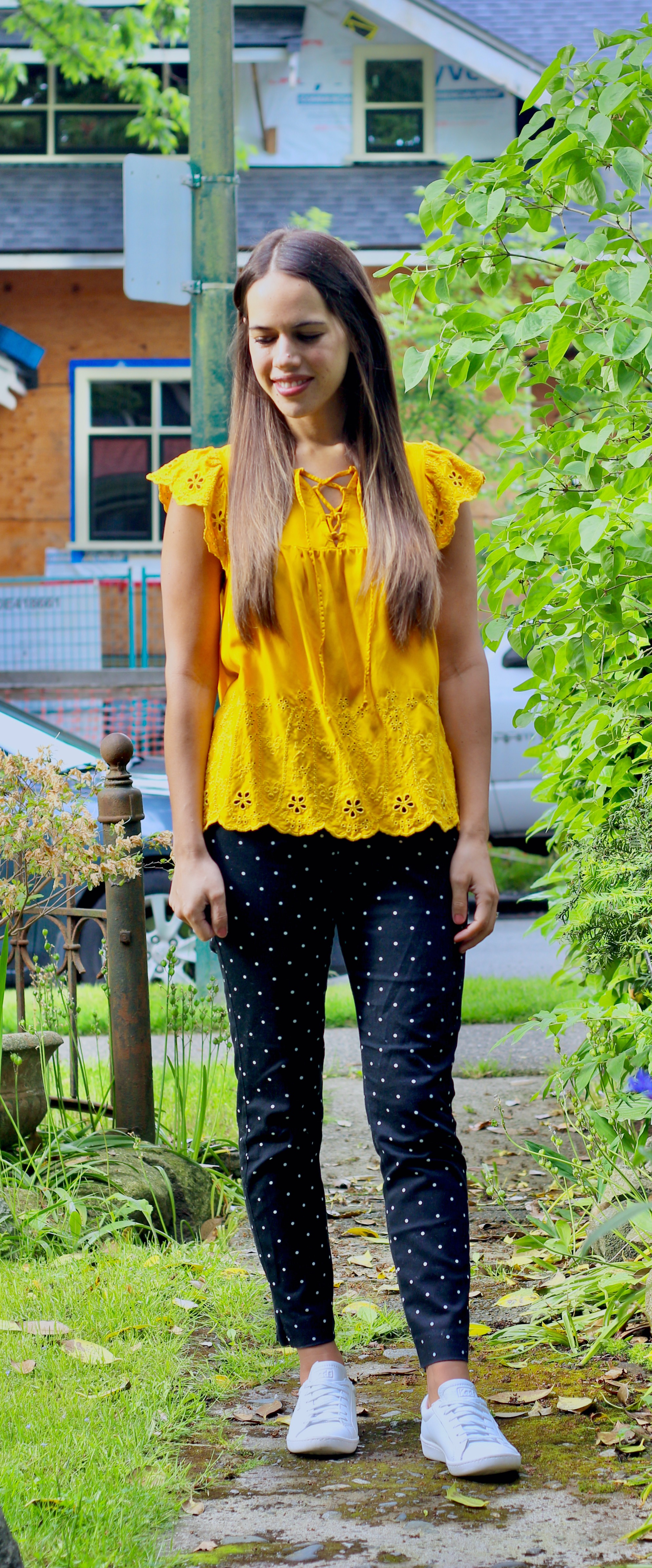Jules in Flats - Mustard Ruffle Top with Black Dot Pants