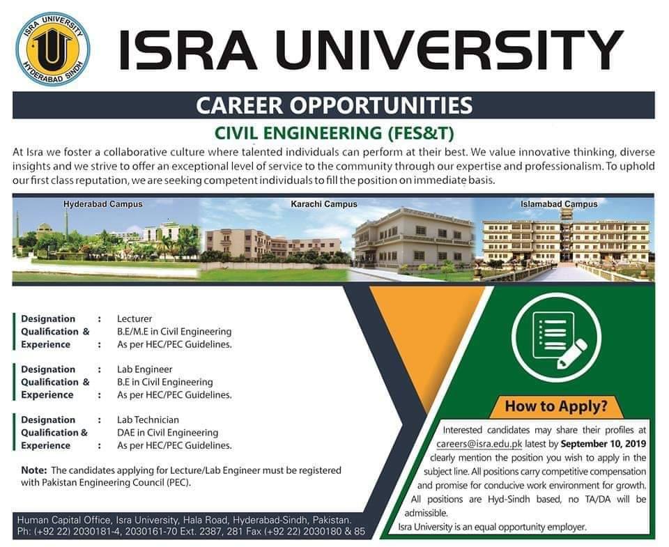Isra University Hyderabad Jobs 2019 for Lecturer, Lab Engineer & Lab Technician
