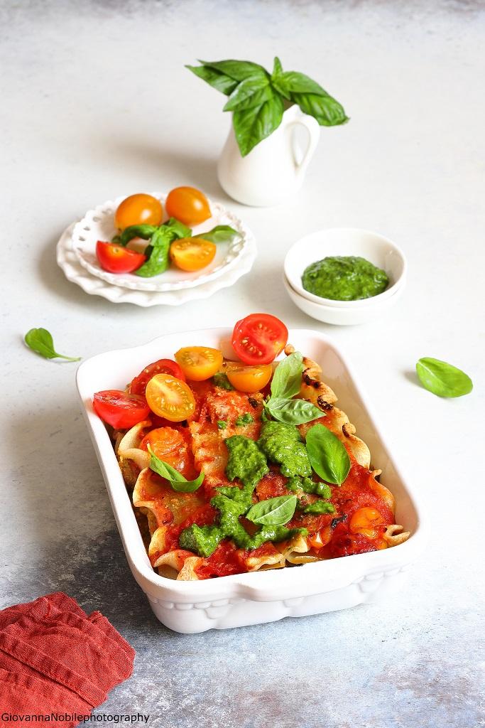 Lasagne con ricotta, pomodori e melanzane
