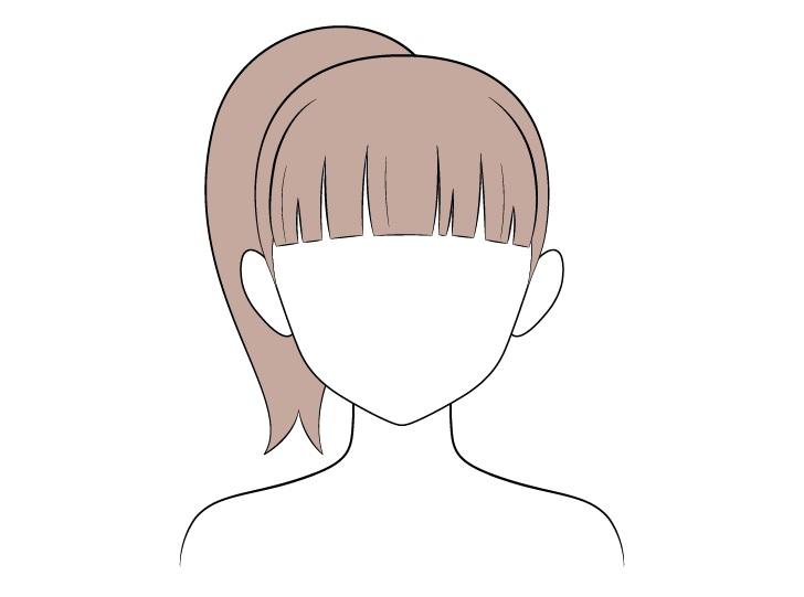 Pewarnaan rambut kuncir kuda anime