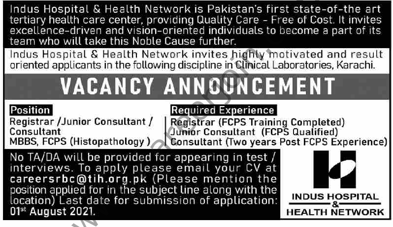 Indus Hospital & Health Network Jobs July 2021