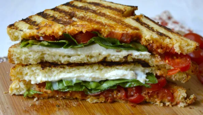 Tomato, Mozzarella, and Basil Panini #vegetarian #lunch