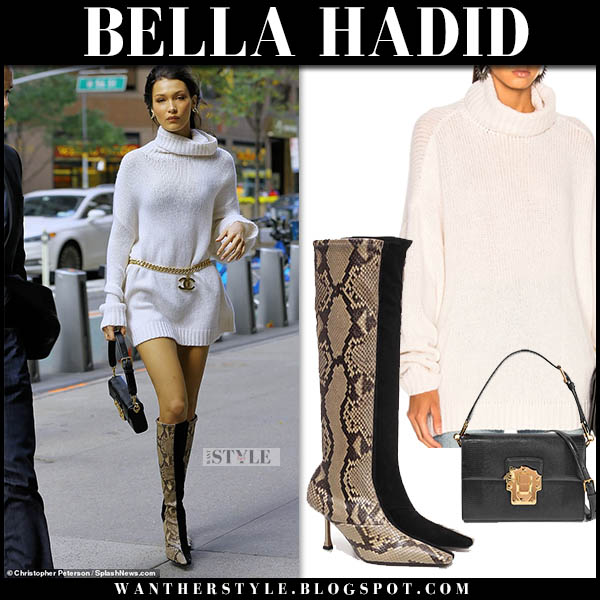 ... what she wore · No comments · Bella Hadid in white r13 turtleneck knit  mini dress and brown snakeskin celine knee boots fall a3e75fce1d5