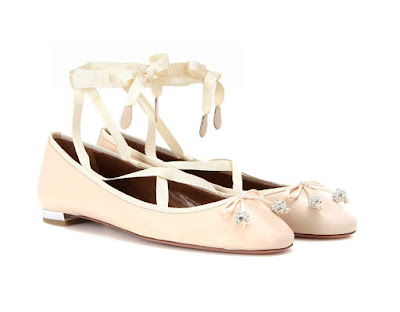 Aquazzura Blush ballet flats with satin lace up ribbons