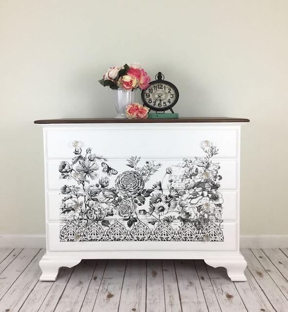 floral design white dresser custom