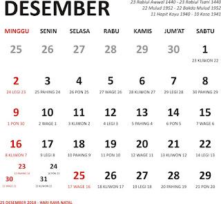 kalender desember 2018