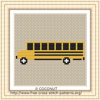 School bus, Free and easy printable cross stitch pattern