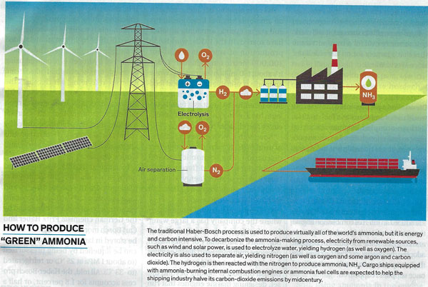 """Production and consumption of """"green"""" ammonia (Source: Maria Gallucci, IEEE Spectrum, March 2021)"""