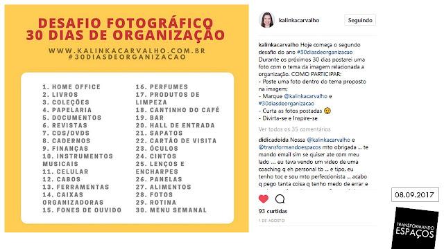Desafio Fotográfico 30 dias de organização do blog Kalinka Karvalho 2017/2
