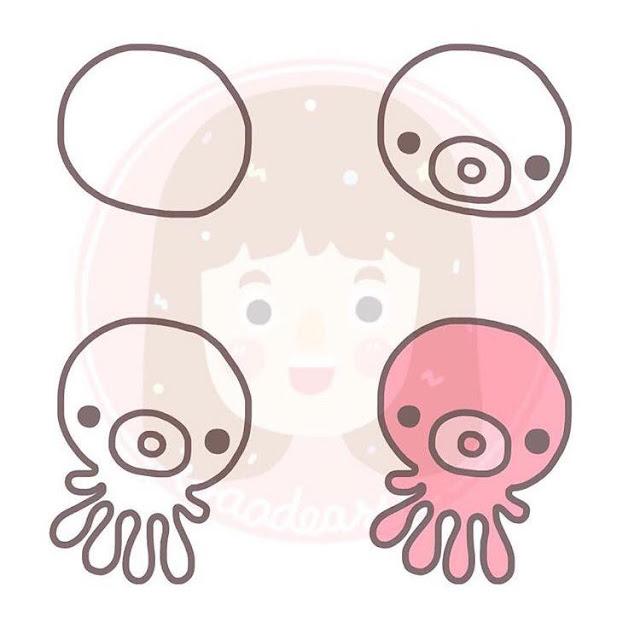 Cara menggambar gurita untuk anak-anak