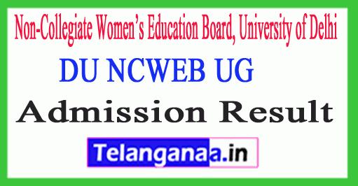 DU NCWEB UG Admission Result