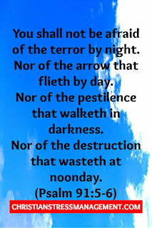Thou shalt not be afraid for the terror by night; nor for the arrow that flieth by day; Nor for the pestilence that walketh in darkness; nor for the destruction that wasteth at noonday. (KJV Psalm 91:5-6)