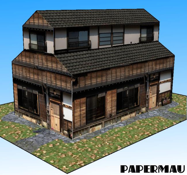 Papermau a simple traditional japanese house paper model for Minimalist traditional house