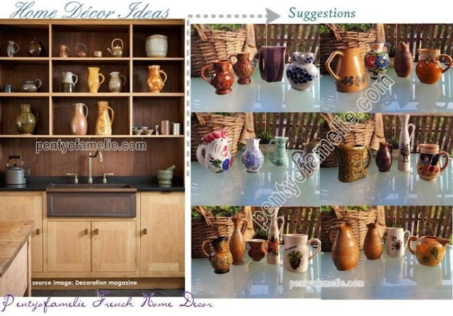 French Art Pottery. Find out dozens Faience, Ceramic, Stoneware Water Pitchers, Jugs of wine, Decanter, Sangria Jugs in Green Yellow, Red Brown. Barbotine Drinking set, Hand Painted Collectible Juice carafes.