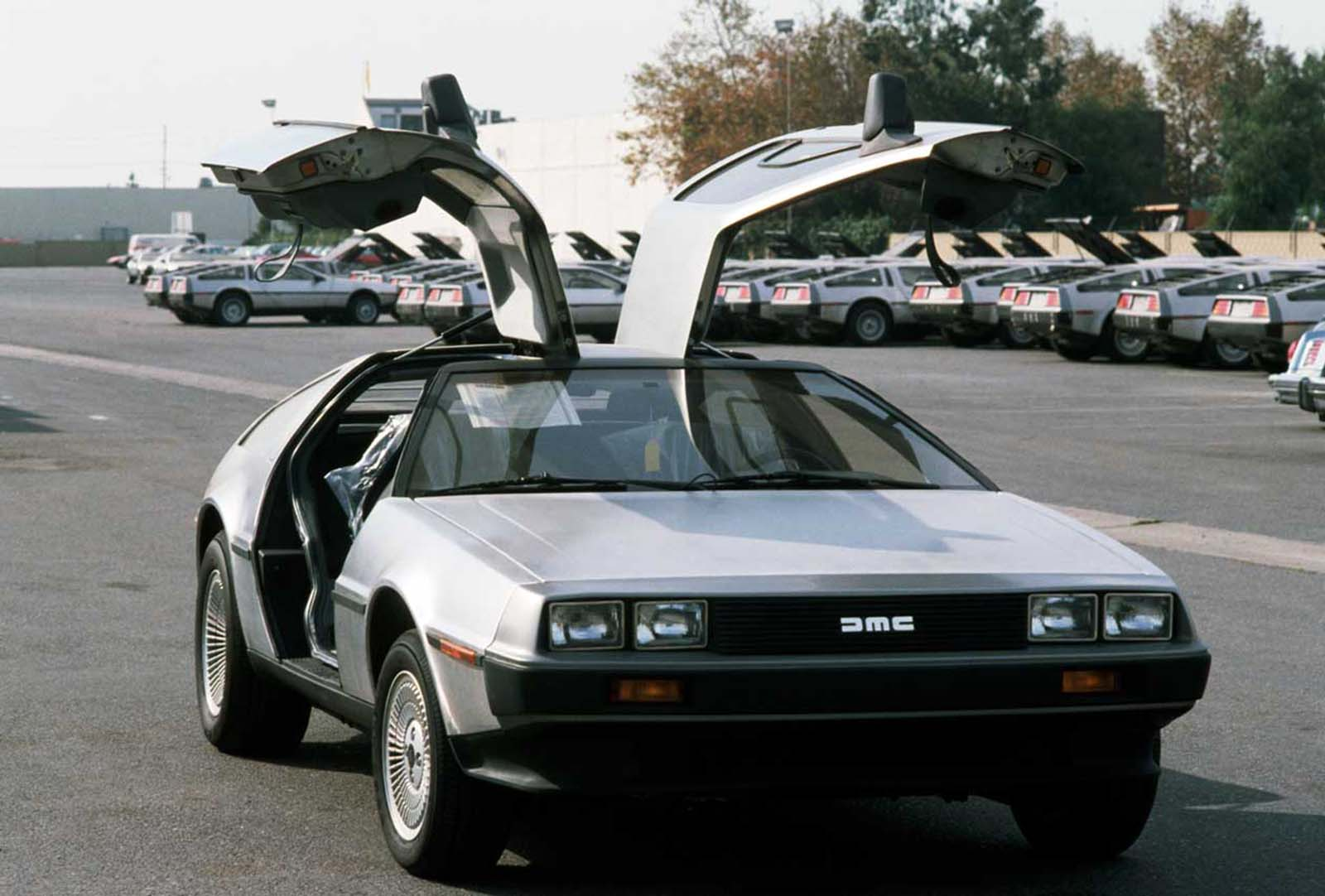A DeLorean with doors open. 1981.