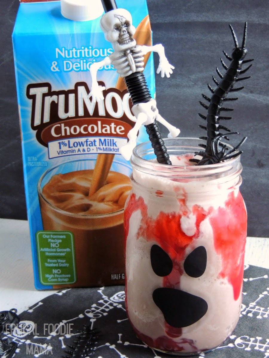 This perfect-for-Halloween Gore-licious Chocolate Cherry Shake has just two simple ingredients in it.