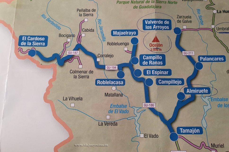 Mapa con los pueblos negros de Guadalajara