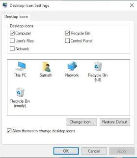 استعادة سلة المحذوفات / هذا الكمبيوتر