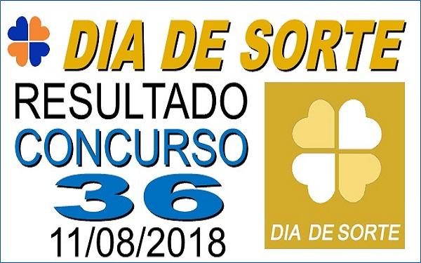 Resultado do Dia de Sorte concurso 36 de 11/08/2018 (Imagem: Informe Notícias)