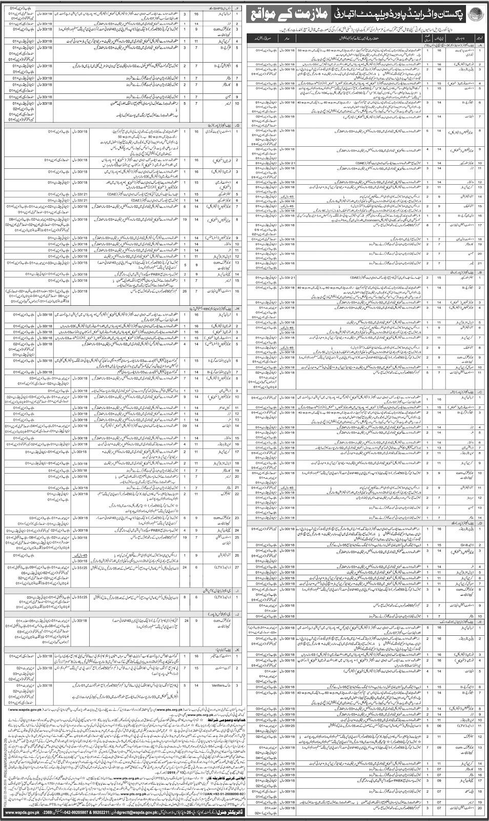 Pakistan Water and Power Development Authority WAPDA Jobs 2019