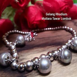 Gelang Rhodium Mutiara Tawar Asli Lombok