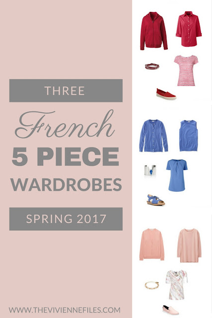 Three MORE French 5-Piece Wardrobes for Spring: Blush, Red and French Blue