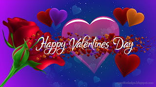 Romantic Happy Valentines Day With Fantasy Rose Flowers And Hearts Design