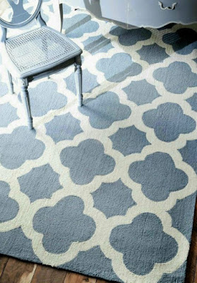 Living room rug ideas with Moroccan Trellis blue rug