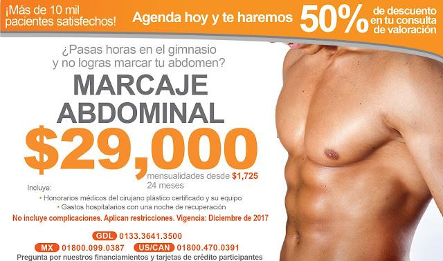 Precio Cirugia Plastica Estetica Marcaje Abdominal Cuadritos Abdomen Guadalajara Mexico