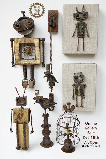 Robot and Bird Art Pieces by Robin Davis Studio