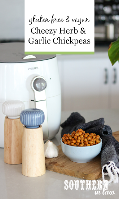 Air Fryer Cheesy Herb and Garlic Roasted Chickpeas Recipe - gluten free and vegan