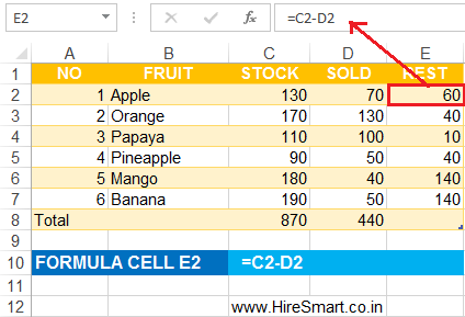 Excel Subtraction Formulas