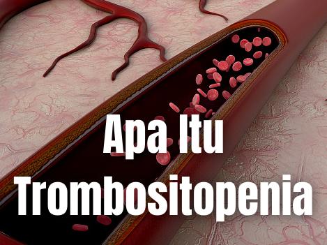 Apa Itu Trombositopenia : Pengertian, Gejala, Penyebab Pengertian Trombositopenia Trombositopenia adalah istilah medis yang digunakan untuk penurunan jumlah platelet dalam darah di bawah batas minimal. Takaran normal platelet adalah 150.000 hingga 450.000 per mikroliter.   Platelet yang sering juga disebut trombosit memiliki fungsi penting dalam tubuh manusia, yaitu untuk membantu proses pembekuan darah. Ini supaya pendarahan berlebihan tidak terjadi.  Trombositopenia bisa dialami oleh anak-anak maupun orang dewasa dan akan menyebabkan penderitanya lebih rentan mengalami pendarahan.   Meski jarang terjadi, trombositopenia yang tidak ditangani dapat memicu pendarahan dalam yang bahkan bisa berakibat fatal. Terutama jika jumlah platelet penderita berada di bawah angka 10.000 per mikroliter.  Gejala Trombositopenia Trombositopenia ringan terkadang tidak menyebabkan indikasi apa pun. Meski jika ada, gejala utamanya adalah munculnya pendarahan.   Pendarahan ini dapat terjadi di luar maupun di dalam tubuh dan terkadang sulit dihentikan, contohnya mimisan atau gusi berdarah. Gejala-gejala lain juga dapat dialami oleh penderita meliputi : Lelah Darah pada urine atau tinja Menstruasi dengan volume darah yang berlebihan Memar-memar pada tubuh Bintik-bintik merah keunguan pada kulit, terutama bagian kaki Pembengkakan pada limpa Sakit kuning  Penyebab Trombositopenia Banyak hal yang dapat melatarbelakangi terjadinya trombositopenia. Pada kondisi normal, sumsum tulang akan memproduksi dan menggantikan platelet yang sudah rusak.   Tetapi jika mengalami trombositopenia, jumlah platelet dalam darah penderita tidak mencukupi angka yang seharusnya. Kekurangan ini dapat disebabkan oleh produksi platelet yang menurun atau proses hancurnya platelet lebih cepat dari proses produksi. Kondisi ini dapat dipicu oleh beberapa faktor yang meliputi: Penyakit tertentu, seperti kanker darah, limfoma, atau purpura trombositopenik trombotik. Kelainan darah, contohnya anemia aplastik. Konsumsi alkoh